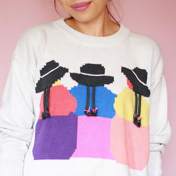 Vintage 90s White Sweater with Cute Girls, Hats, mountain folks - long sleeve - small - medium