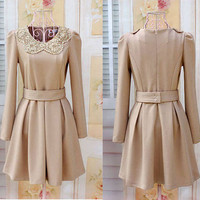 Womens Cute Vintage Bandage Halter Sash Autumn Dress Evening Dress S M L Beige