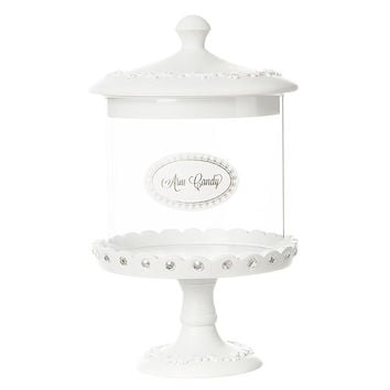 White Cupcake Pedestal Arm Candy Jar Jewelry Holder