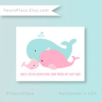 Baby Girl Nursery Decor Whale Family Print You Are My Sunshine pink and aqua Nursery wall art baby shower gift Bathroom Art by YassisPlace