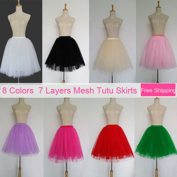 Tulle Skirt 7 Layers 12 colors Summer Style Pleated Womens Adult Tutu Faldas Saias Femininas High Waisted Midi Skirts