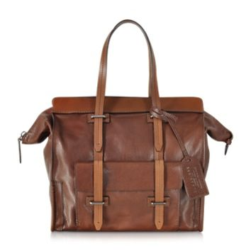 The Bridge Designer Men's Bags Ascott Marrone Small Leather Zip Tote