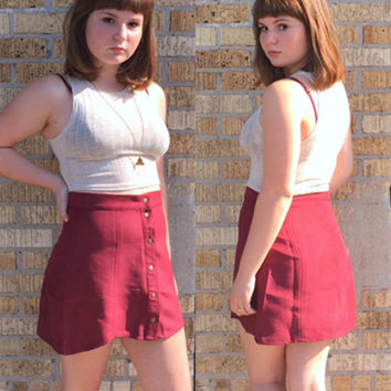 An Autumn Buttoned Skirt in Burgundy