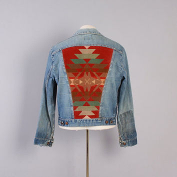 Vintage 70s JEAN JACKET / 1970s Custom Native American Navajo Blanket Back Patch Maverick Denim M - L