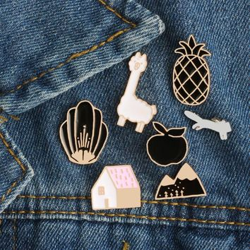 Trendy 1Pcs Cartoon Brooches Pins Badge House Flower Sheep Fox Mountain Apple Pineapple Pin Denim Jacket Clothing Jewelry for Kids Boys AT_94_13