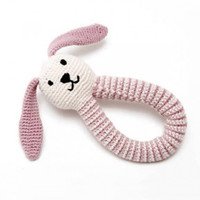 Organic Bunny Fair Trade Knitted Baby Rattle