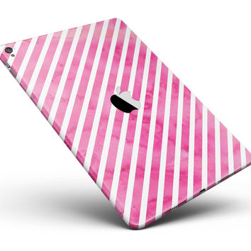 "The Pink Watercolor Grunge with Slanted Stripes Full Body Skin for the iPad Pro (12.9"" or 9.7"" available)"