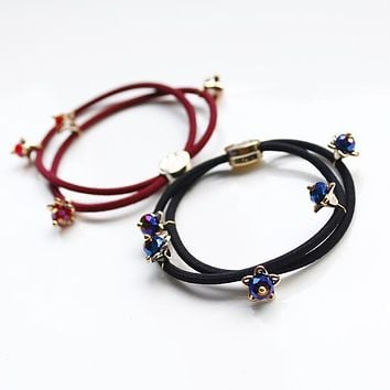Korean version of the crystal beaded Starry ponytail rubber band hair accessories for women girl children Free Shipping