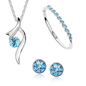 Silver Plated Wedding Jewelry Sets African Bridal Crystal Pendant Necklace Bracelet Stud Earring for women accessories