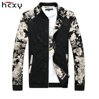 Men Jacket Floral coat male Spring Autumn Style Zippers Casual mens jackets and coats Stand Collar Big Size 5XL Chaquetas Homme