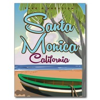 Santa Monica Beach Travel poster Postcard