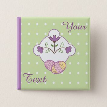 Easter Eggs and Flowers 2 Inch Square Button