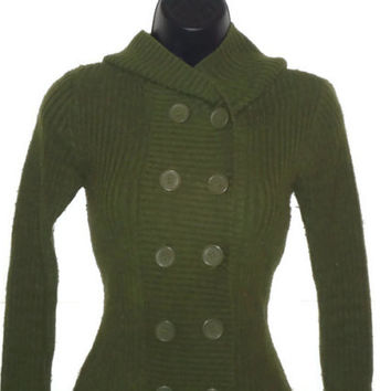 Olive Green Sweater Long Sleeved Button Up Hooded Refashioned Womens Clothing Medium