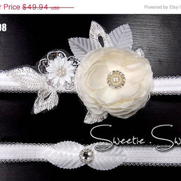 SALE 40% OFF Wedding Garter, Bridal Garter, Garter Set, Flower Garter, Lace Garter, Wedding Keepsake, Toss Garter,  Rhinestone Garter GT008-