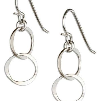 Sterling Silver Dainty Small Double Interlocking Circles Dangle Earrings