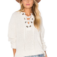 J.O.A. Lace Up Sweater in Ivory | REVOLVE