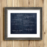 Lockheed P-38 Lightning WWII airplane blueprint art