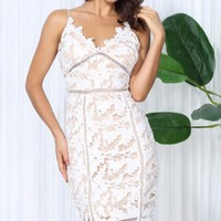 White Lace Stitching V-Neck Party Dress