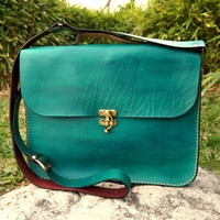 "Green leather laptop bag  15"", Green leather messenger, Teal messenger bag, Antique look,Personalized"