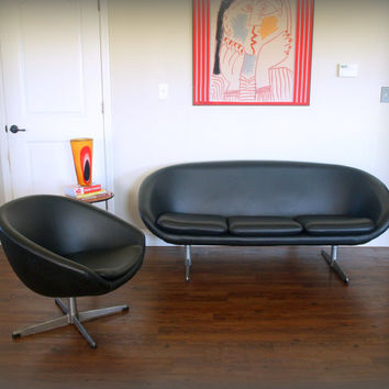 60s RETRO SOFA & Chair / Overman Ab Sweden Pod / Mid Century Modern Designer Furniture / Black Faux Leather / Space Age Scandinavian Mid Mod