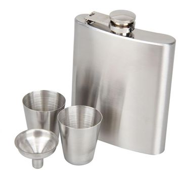 7oz Hip Flask Stainless Steel Whiskey Flask Pot Screw Cap + Funnel Drinkware Set