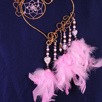 Dreamcatcher Valentine Pink Dream Catcher Large Dreamcatcher Dream сatcher gift dreamcatcher boho dreamcatcher wall handmade idea gift pink