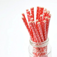 Paper Straw Small Polka Dots -Red x 25