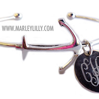 Monogrammed German Silver Anchor Bracelet | Marley Lilly