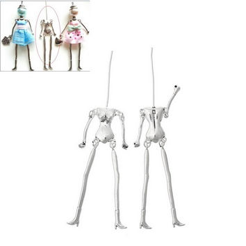 FUNIQUE Human Body Skeleton Fit Doll Making DIY Charm Necklace Silver Tone Pendants For DIY Boy irls Toys 11.5cm x1.8cm,5PCs