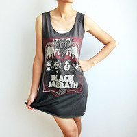 Black Sabbath Heavy Metal Hard Rock T Shirt Long Tank Top Mini Dress Women Size M