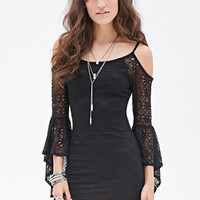 FOREVER 21 Off-The-Shoulder Crochet Dress Black