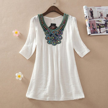 Women Fashion Summer Bohemian Style Sexy Bead Embroidery Loose Shirt