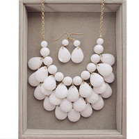 Teardrop Statement Bib Necklace Kate Spade Inspired Stark White