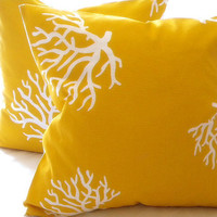 Designer Yellow/ White Coral  Pillow cover indoor/outdoor beach  20 x 20