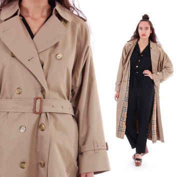 Authentic Burberry Trench Coat Classic Iconic Tan Belted Plaid Long Fall Winter 80s 90s Vintage Outerwear Unisex Mens Large Womens XL