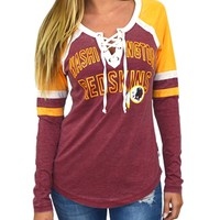 Washington Redskins Womens Laceup Long Sleeve Top | SportyThreads.com