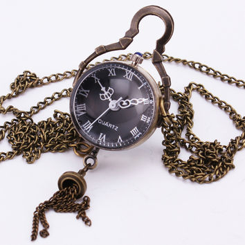 Baroque Vintage Retro Antique Gothic Ball Bell Pendant Glass Girls Quartz Pocket Watch Bronze Black Long Chain Clock Gift