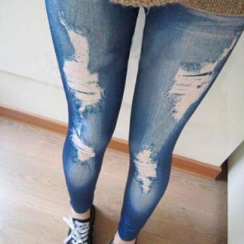 1 pcs  Gothic Wash Leggings Elastic Women Pants Cotton Ripped Legging Hole Knee Ripped Jeans Pencil Ankle-Length Pant