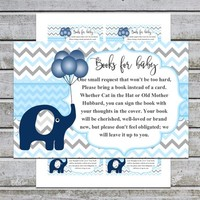 Bring a Book Instead of a Card | Book Request | Printable Boy Baby Shower Invitation Insert (06bb2t) Elephant Baby Shower | Instant Download