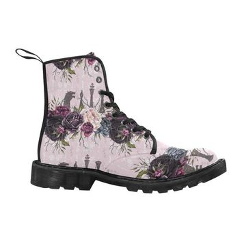 Pink Floral Thrones Canvas Custom Women's Boot, Black Combat Ankle Booties
