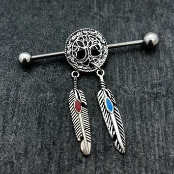 Sale......Tree of Life Industrial barbell, body jewelry, 14 gauge stainless steel