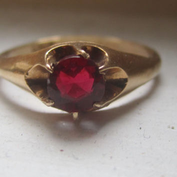 Vintage Antique 14k Yellow Gold Ruby Engagement Ring Belcher Setting 6 Prong Claw Setting UNIR Mounting Semi-Mount