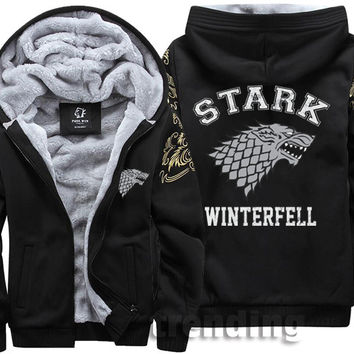 Fashion Men women Warm Thick Coat Jacket Game of Thrones House Stark of Winterfall wolf Zipper velvet Fleece Sweatshirt Hoodies