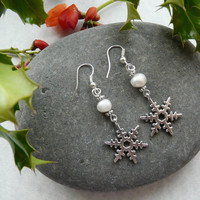 Earrings Christmas Snowflake Freshwater Pearl Free Worldwide Shipping