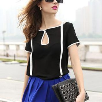 Black Vintage Short Sleeve Chiffon Shirt S009995