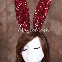 Sexy Costume Sequin Red Bunny/Rabbit Ears Headband,Sexy Lady Headband,Fashion Cosplay Costume,Red Bunny Ears,New Year Eve Party Headbands