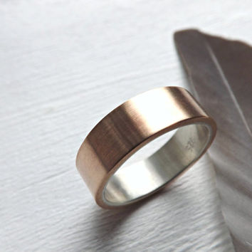 mens wedding band, bronze wedding ring, mens ring silver bronze, rustic wedding band, silver bronze ring, rustic mens ring anniversary gift