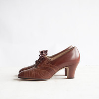 Vintage 1930s Deco Oxfords / Chocolate Brown Leather / 30s Heels / Shoes 6.5 - 7