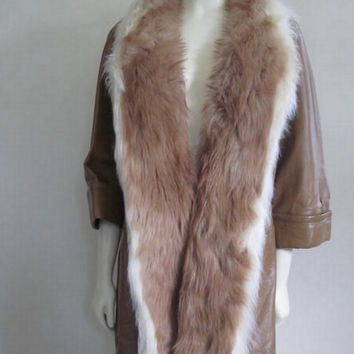 1970s Leather Jacket / Fur Trim Coat / Swing Coat / Fox Fur / Boho Coat / Fur Leather Jacket / Brown Leather Coat / Caramel / Studio 54