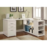 Contemporary L Shaped Office Desk with 3 Drawers and Shelves, White